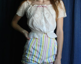 50s Bloomers Shorts / Pinup Shorts / High Waist Hourglass Shorts /Candy Striper Cotton Candy /Viva Las Vegas Sexy Poolside /Summer Hot Pants