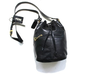 Vintage Bucket Bag / Black Leather Bucket Bag / Drawstring Purse