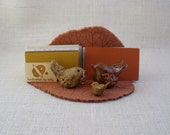 Ceramic Leaf Business Card Holder with Three Clay Birds - Made with a Real Hollyhock Leaf - Holds up to 100 cards - Desk Accessory - Nature
