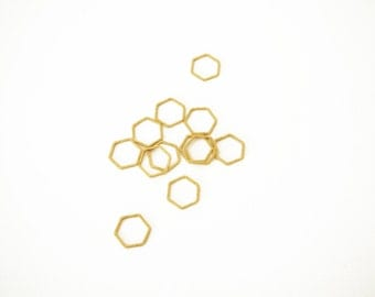 10 Raw Brass Hexagon rings 12 mm empty geometric hexagon