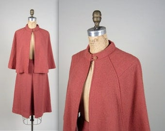 1940s style cape and skirt • vintage 40s suit • wool capelet and skirt set