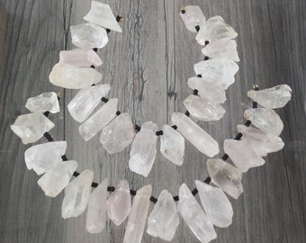 16 Top Drilled Crystal Quartz Points Beads