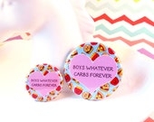 Boys Whatever Carbs Forever Badge 25mm 38mm fun food round pinback button friend friendship badges cute colourful bright pin love friends