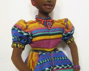 AFRICAN DOLL . Black Doll. African Doll. Black Art Doll. CLoth Doll