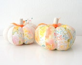 Watercolor Floral Pumpkin Pincushion, Fabric Pumpkin, Fabric Pincushion, Orange Fabric Pumpkin
