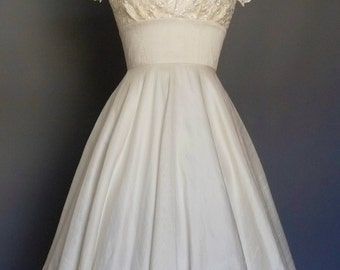 Ivory Silk Dupion And Lace Sweetheart Tea Length Circle Skirt Wedding Dress - Made by Dig For Victory