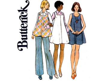 70s Maternity Top Dress & Pants Pattern Butterick 3057 Vintage Sewing Pattern Size 10 Bust 32 1/2 inches