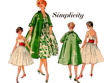 Simplicity 2917 Womens Full Skirt Dress Swing Coat & Belt 50s Vintage Sewing Pattern Size 14 Bust 34 inches