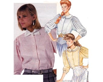 80s Steampunk Blouse Pattern McCall's 3473 Vintage Sewing Pattern Pleated Sleeves Top Bust 34 inches Size 12 UNCUT Factory Folded