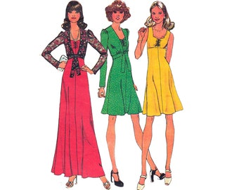 70s Dress Maxi & Bolero Pattern Simplicity 6755 Boho Maxi Fit and Flare Hippie Dress Tie Jacket Vintage Sewing Pattern Size 12 Bust 34 inch
