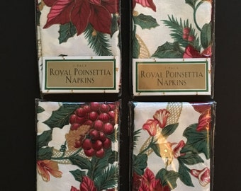 8 Vtg Christmas Poinsettia Cloth Napkins - Unused in Original Package - Square 17x17