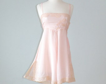 1920s Lingerie, 20s Chemise Step In, Pink Silk & Lace Flapper Lingerie, XXS XS