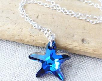 Beach Jewelry, Starfish Necklace, Swarovski Necklace, Bermuda Blue, Crystal Starfish Pendant, Beach Necklace, Ocean Necklace, Beach Wedding