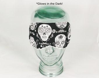 Glow in the Dark Sugar Skull Sleep Eye Mask Blindfold Day of the Dead