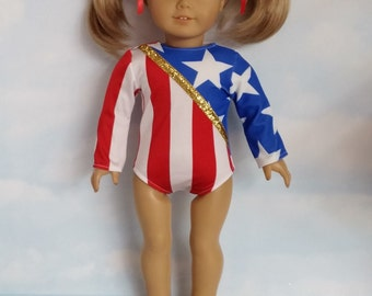 18 inch doll clothes - #115 Red, White and Blue Gymnastic Leotard handmade to fit the American Girl Doll - FREE SHIPPING