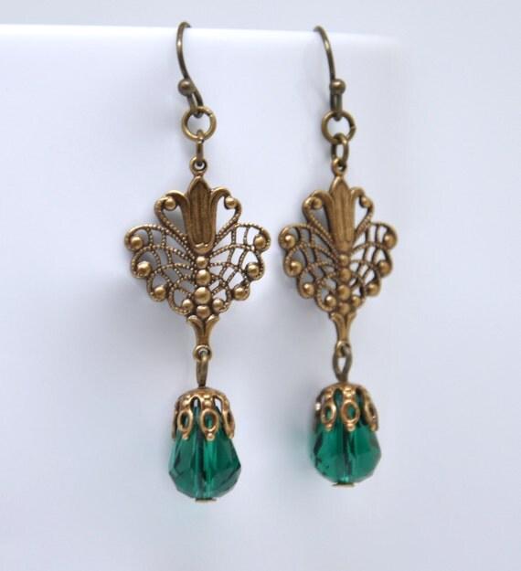 Long Green Earrings, Peacock Earrings, Blue Green Earrings, Antique Brass Filigree Earrings, Victorian Style Jewelry, Bridesmaid Gift