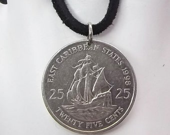 Boat Coin Necklace, Caribbean 25 Cents, Coin Pendant, Leather Cord, Men's Necklace, Women's Necklace, 1998