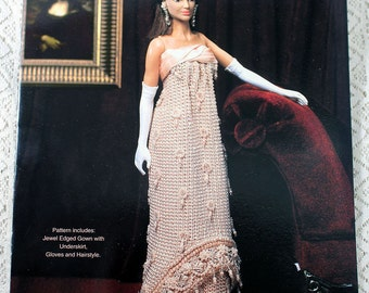 Paradise Publications, 1963 Jeweled Presidential Gown Crochet Pattern, Crochet Collector Costume, Volume 85