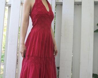 Halter Dress Hanky Hem Handkerchief Sundress Dark Pink Crochet Beach Vacation Festival XS S