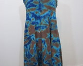 Smocked Tie Dye Dress Turquoise Blue Brown Size XXL