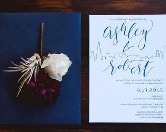 The Skyline -- Letterpress Wedding Invitations - sample pack
