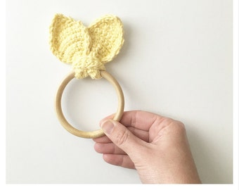 Crochet Teether Pattern, Baby Teether, Bunny Ear Wooden Teether, Teething Ring for Baby, DIY Baby Teething Ring, Crochet Bunny Ears