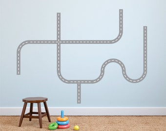 Roads Wall Decals - Roads Decal Set - Fabric Wall Decals - Fabric Road Wall Decals - Fabric Reusable Road Wall Decals - Road Decals