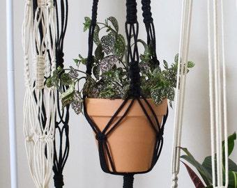 Macrame Plant Hanger | Black Cotton Rope | 3 Strand Indoor Hanging Planter | Plant Pot Holder | Boho Decor