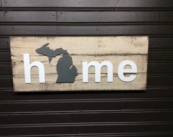 Michigan with Upper Penninsula HOME plaque CUSTOMIZABLE