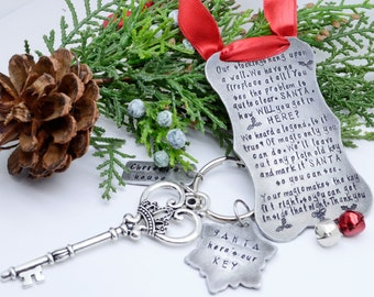 Santa's Magic Key Poem Plaque and Keychain - Personalized Christmas Ornament - Handmade Christmas Decorations - Santa's Key Ornament