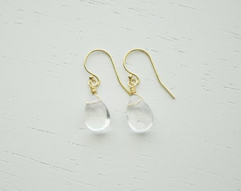 Raindrop Earrings - small clear crystal quartz glass drop gem dangle on gold or silver - simple handmade wedding or everyday jewelry