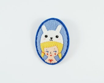 Girl Brooch / Cute Felt Girl Pin / Amusement Park Felt Brooch / Alice in Wonderland Felt Brooch / Girl Rabbit Hat Brooch / Rabbit Girl Pin