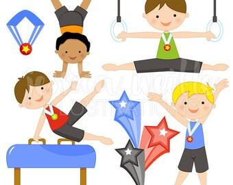 Boys Gymnastics Cute Digital Clipart - Commercial Use OK - Gymnastics Clipart, Boy Gymnast, Gymnastics Clip Art, Tumbling