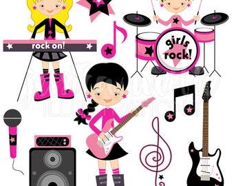 Girls Rock Cute Digital Clipart - Commercial Use OK - Rockstar Clipart, Rock Star Graphics, Girls Guitar, Girl Drummer, Music Clip art