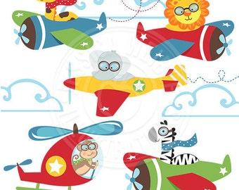 Safari Pilots Cute Digital Clipart, Animals in Planes, Safari Animals flying, Safari Animal Clip art, Safari Animal Graphics, Aviation