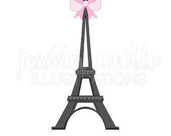 Eiffel Tower with Bow Cute Digital Clipart, Eiffel Tower Clip art, Bridal Graphics, Paris Clip art, Eiffel Tower Illustration, #614