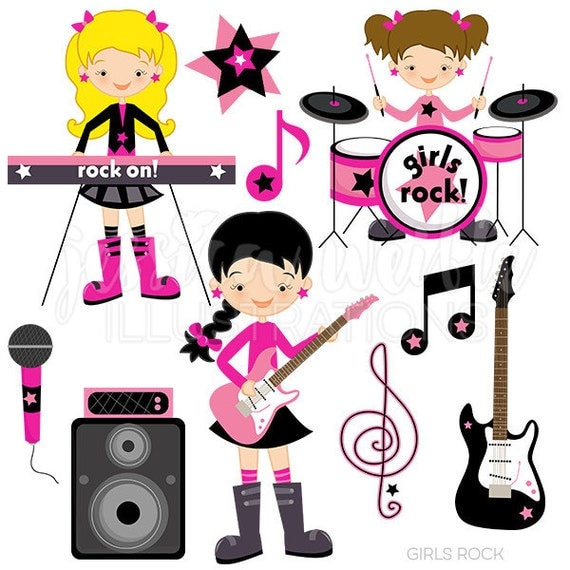 girls rock cute digital clipart commercial use ok rockstar rh catchmyparty com rock star clip art for kids rock star clip art free