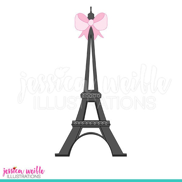 Eiffel Tower With Bow Cute Digital Clipart Clip