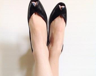 Vintage Black Leather Bruno Magli Slingback Peeptoe Heels // 1980s