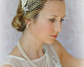 Birdcage Veil and Comb Set, Bandeau Veil, Bird Cage Veil With Detachable Pearl and Crystal Comb - TRYSTAN