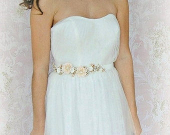 Ivory and Blush Skinny Sash, Gold Bridal Sash, Flower Wedding Belt with Swarovski Crystals and Pearls  - MON AMOUR