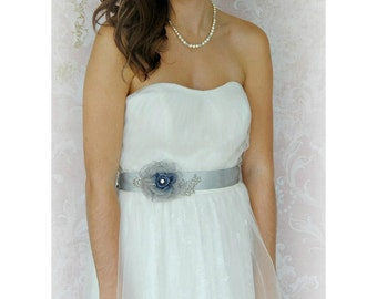 Gray Bridal Sash, Slate Blue Wedding Belt with Handmade Grey Organza Flower, Blue Sash with Lace and Rhinestones - WATERS EDGE