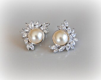 Crystal and Pearl Earring Studs, Bridal Earrings, Bridal Jewelry, Wedding Jewelry, Bridesmaid Earrings - MICAELA