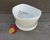 Ceramic White Berry Bowl, Berry Strainer With or Without Drip Saucer Porcelain for the Home, Handmade Artisan Pottery by Licia Lucas Pfadt