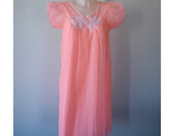 Vintage Chiffon Nightgown, Salmon Pink Chiffon Nightgown, 1960s Pink Chiffon Nightgown, Vintage Nightgown,  Nightgown