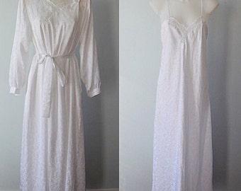 Vintage Peignoir Set, White Peignoir Set, Wedding, Bridal, 1980s Peignoir, Vintage Lingerie, White Peignoir, Linda Lingerie