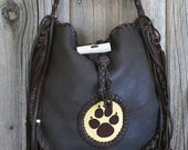 ON SALE Chocolate brown handbag with a beaded wolf totem , Handmade fringed leather tote , Leather handbag