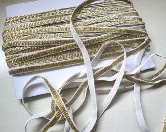 "5 Yards of Sparkly 1/4"" ( 6.35 mm ) wide glittery gold metallic elastic plush back gold metallic stretch ribbon  ST"