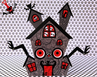 Halloween haunted mansion paper doll moving eyes spooky cute decoration haunted house