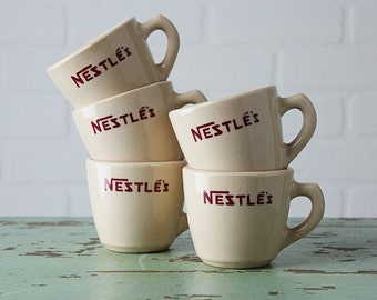 5 Vintage Restaurant Ware Nestle's Advertising Cups - Sterling China Diner Mugs from 1958